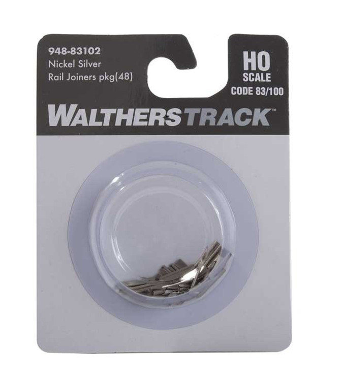 WaltherTrack HO 948-83102 Code 83 or Code 100 Nickel Silver Rail Joiners (48)