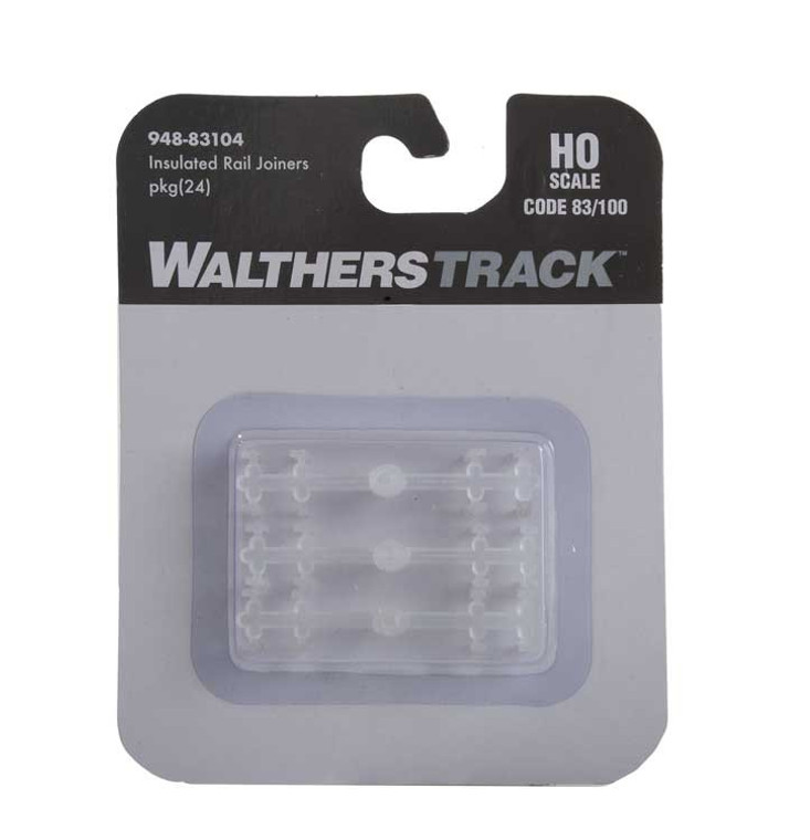 WaltherTrack HO 948-83104 Code 83 or Code 100 Insulated Rail Joiners (24)