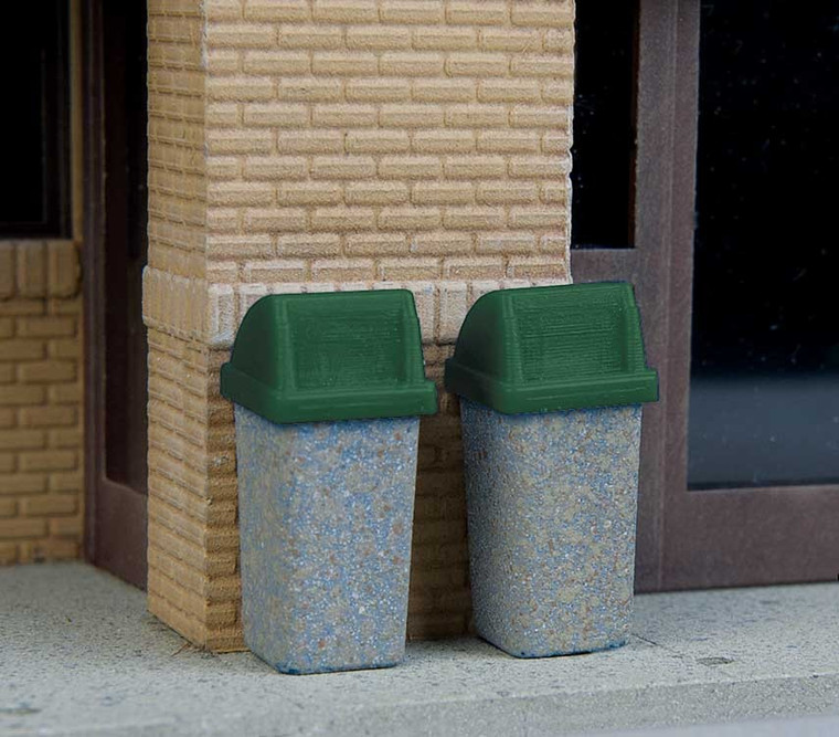 Walthers SceneMaster HO 949-4174 Modern Trash Cans (24)