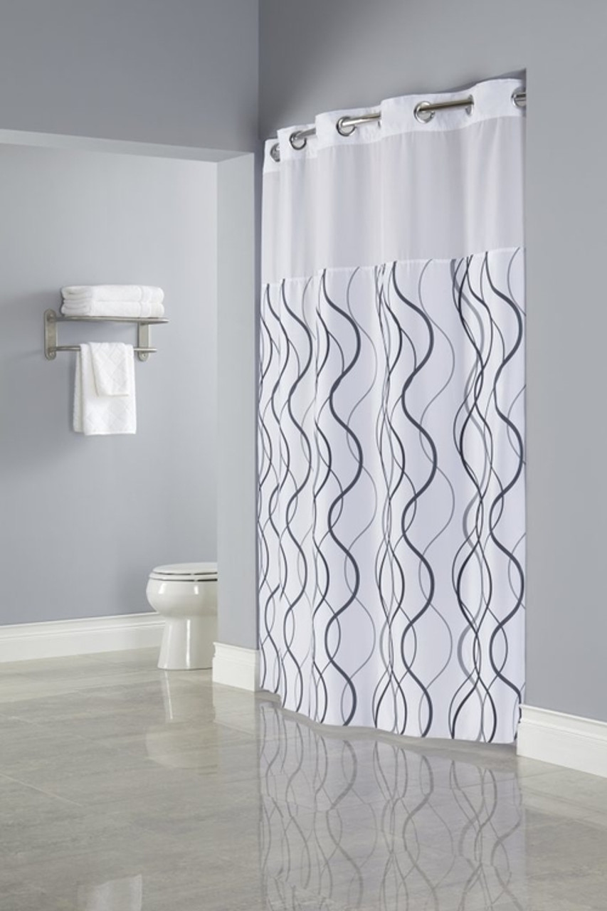 Waves Hookless® Shower Curtain   Hotelstoyou.com Wholesale Pricing Available