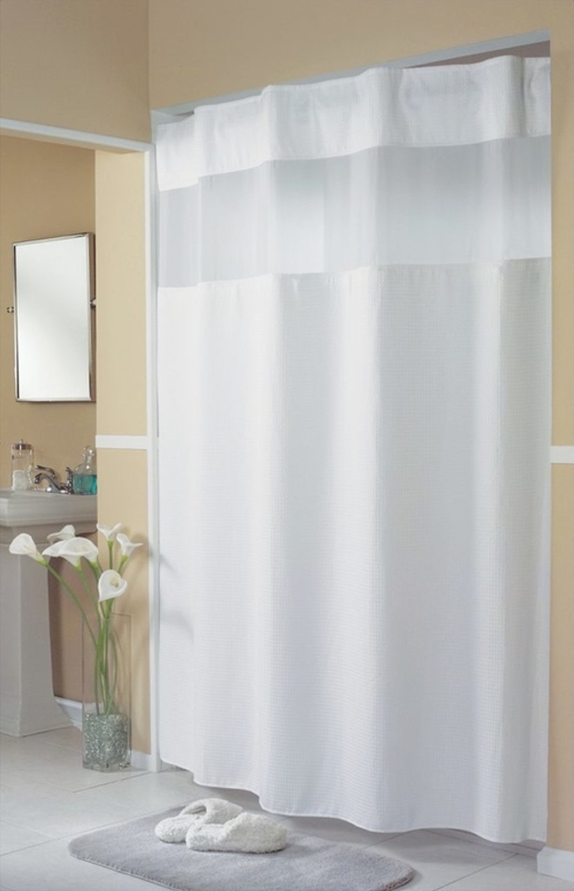 Mini Waffle Weave Hookless Shower Curtain