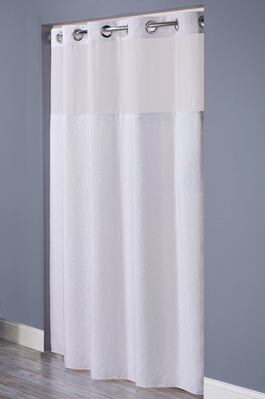 Coral Hookless Shower Curtain Focus
