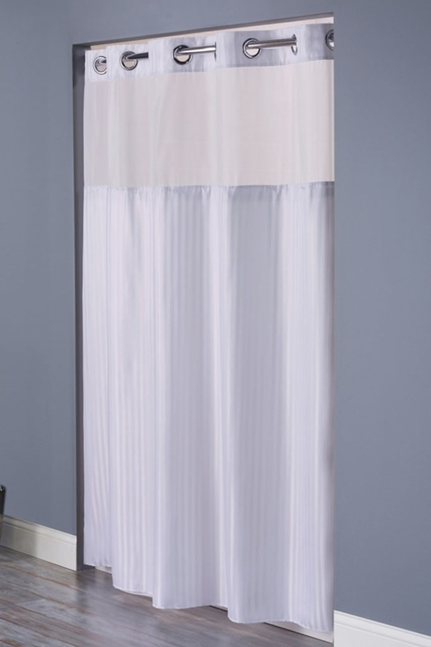 Double H Mystery Hookless Shower Curtain With Its A Snap Liner