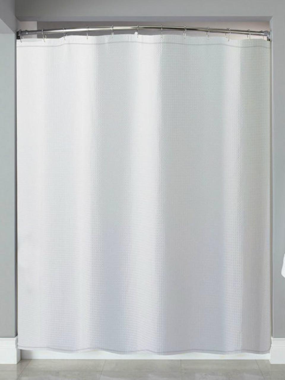 Mini Waffle Hooked Shower Curtain Hookless