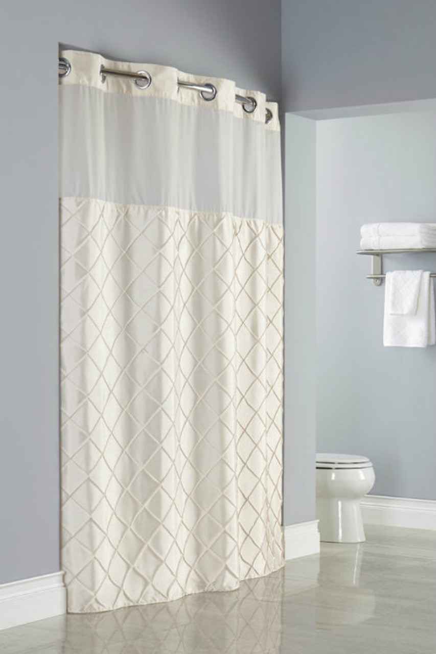 Pintuck Hookless Shower Curtain Focus
