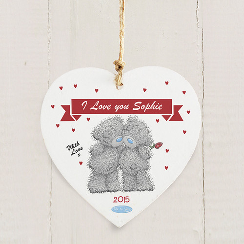 Personalised Me To You Couple Wooden Heart Decoration From Something Personal