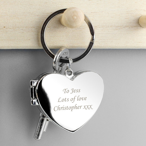 Personalised Engraved Heart Photoframe Keyring From Something Personal
