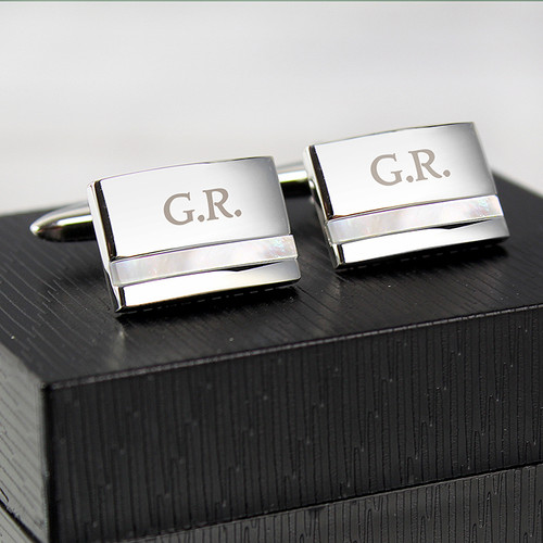 Personalised Engraved Mother of Pearl Cufflinks From Something Personal