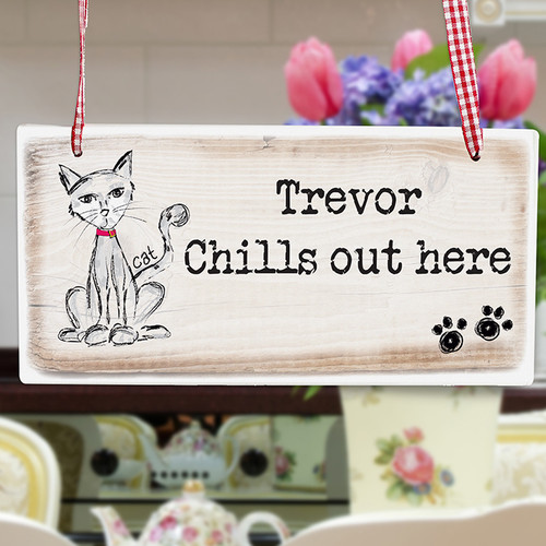Personalised Cat Wooden Sign From Something Personal