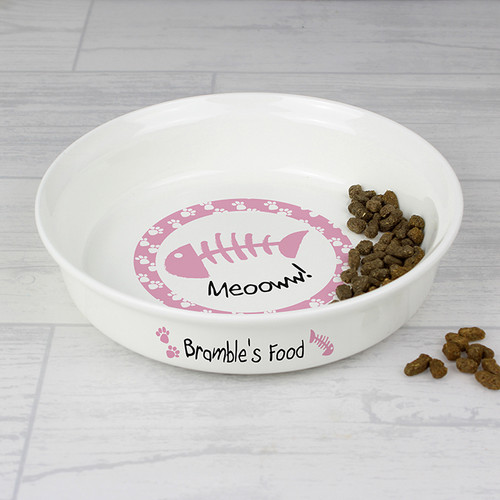 Personalised Pink Cat Bowl From Something Personal