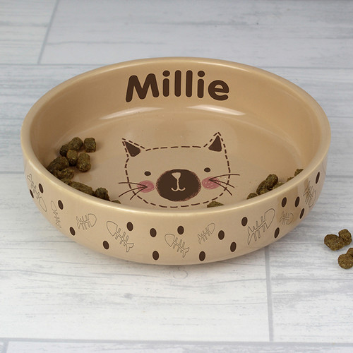 Personalised Cat Stitch Small Brown Cat Bowl From Something Personal