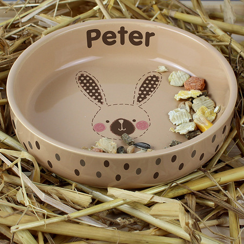 Personalised Rabbit Stitch Small Brown Rabbit Bowl From Something Personal