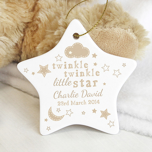 Personalised Twinkle Twinkle Ceramic Star Decoration From Something Personal