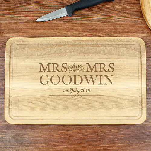 Personalised Mrs & Mrs Chopping Board From Something Personal