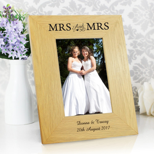 Personalised Mrs & Mrs Wooden Frame From Something Personal