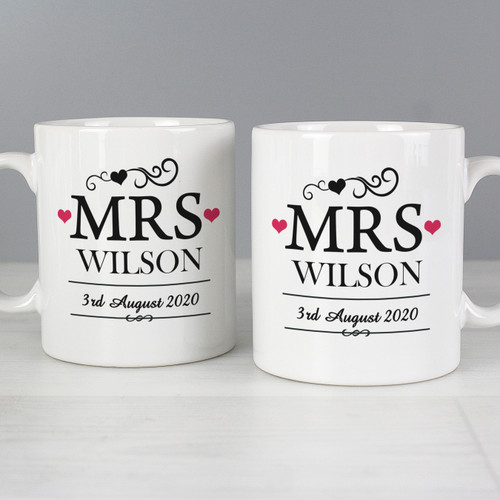 Personalised Mrs & Mrs Mug Set From Something Personal