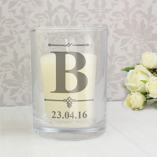 Personalised Decorative Initial Votive Candle Holder From Something Personal
