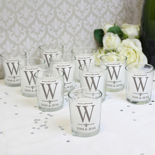 Personalised Pack of 10 Decorative Initial Votive Candle Holders From Something Personal
