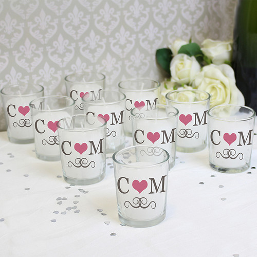 Personalised Pack of 10 Monogram Votive Candle Holders From Something Personal