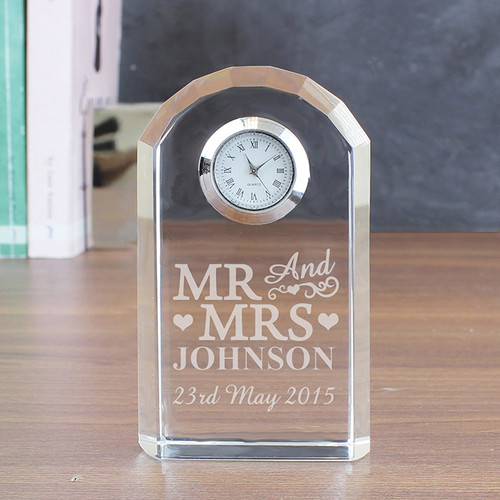 Personalised Mr & Mrs Crystal Clock From Something Personal