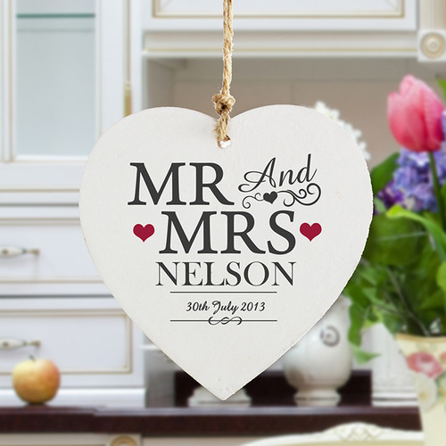 Personalised Mr & Mrs Wooden Heart Decoration From Something Personal