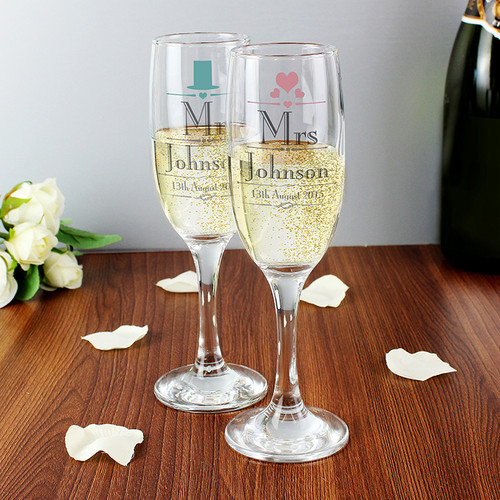 Personalised Decorative Wedding Mr & Mrs Flutes From Something Personal
