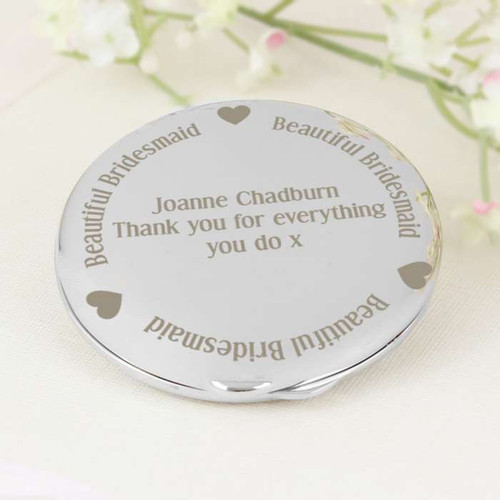 Personalised Beautiful Bridesmaid Compact Mirror From Something Personal