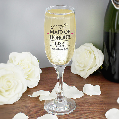 Personalised Maid Of Honour Glass Flute From Something Personal