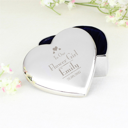 Personalised Flower Girl Heart Trinket From Something Personal