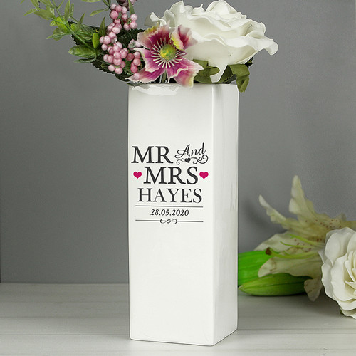 Personalised Mr & Mrs White Square Vase From Something Personal