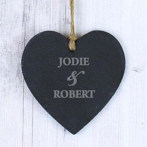 Personalised Couples Slate Heart Decoration From Something Personal