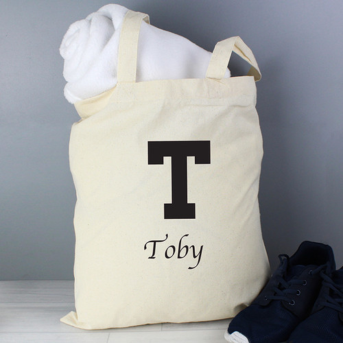 Personalised Black Initial Cotton Bag From Something Personal