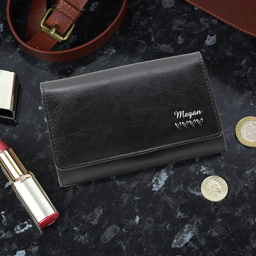 Personalised Black Name & Hearts Purse From Something Personal
