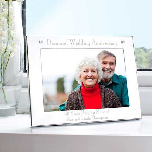 Personalised Diamond Anniversary Landscape Photo Frame From Something Personal