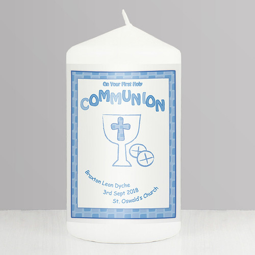Personalised Blue First Holy Communion Candle From Something Personal