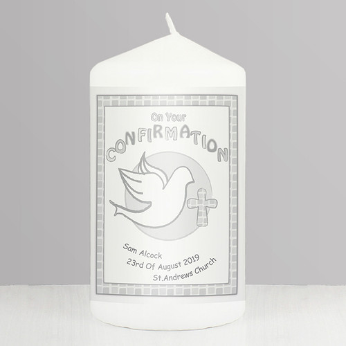 Personalised Confirmation Candle Grey From Something Personal