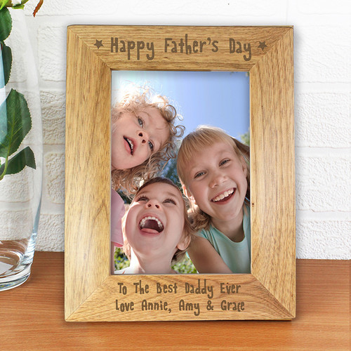 Personalised Happy Fathers Day Wooden Frame From Something Personal