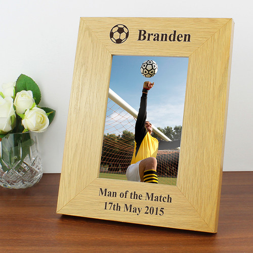 Personalised Oak Finish Football Frame From Something Personal