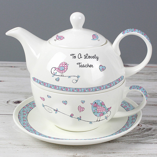 Personalised Floral Birds Tea For One From Something Personal