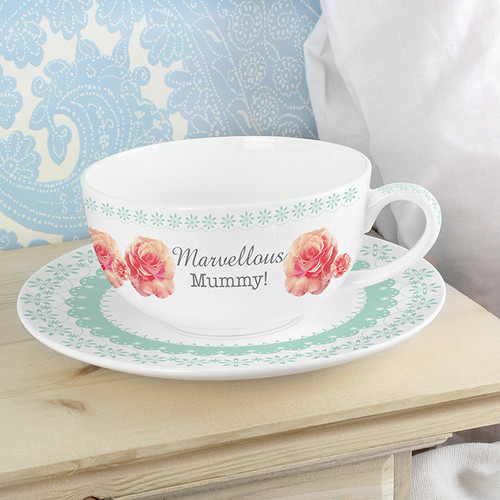 Personalised Vintage Rose Teacup & Saucer From Something Personal