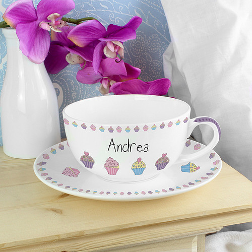 Personalised Cupcake Teacup & Saucer From Something Personal