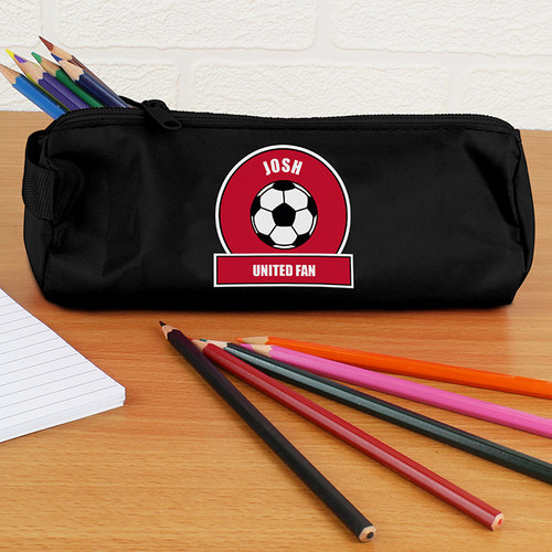 Personalised Red Football Fan Pencil Case From Something Personal