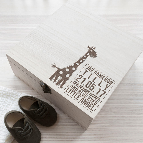 Personalised Baby Giraffe Keepsake Box From Something Personal