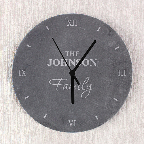 Personalised Family Slate Clock From Something Personal