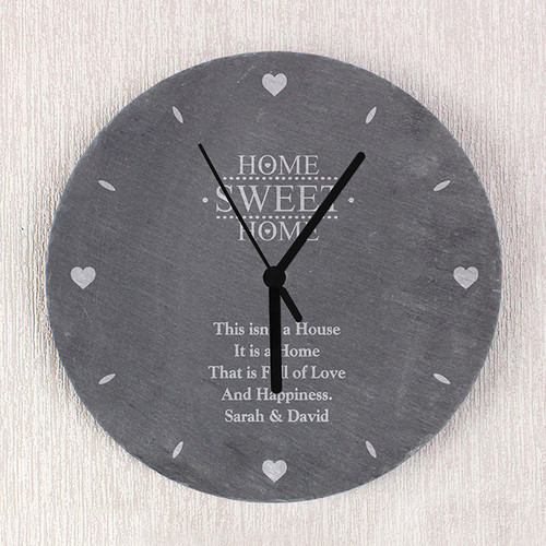 Personalised Home Sweet Home Slate Clock From Something Personal