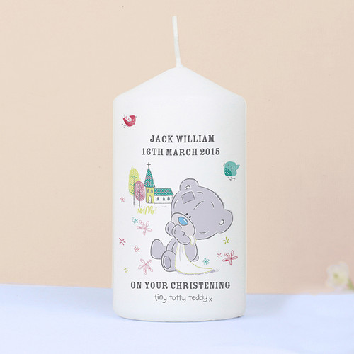 Personalised Tiny Tatty Teddy Christening Candle From Something Personal