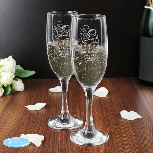 Personalised Me To You Engraved Wedding Pair Of Flutes From Something Personal