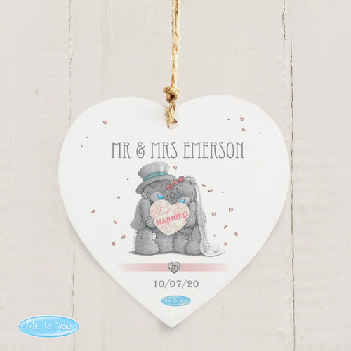 Personalised Me To You Wedding Couple Wooden Heart Decoration From Something Personal