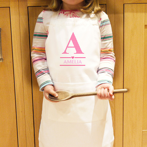 Personalised Girls Initial Kids Apron From Something Personal