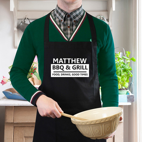 Personalised BBQ & Grill Black Apron From Something Personal